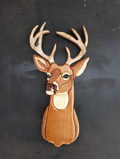 point buck intarsia , intarsia wooden art, poplar, wall decor, home decor Bois Intarsia, Intarsia Wood Patterns, Tree Interior, Intarsia Woodworking, Woodworking Projects, Wood Carving Designs, 3d Home, Wooden Art, Wooden Toys