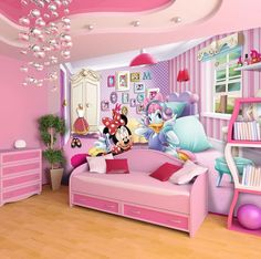 Giant size wallpaper mural for girl's room. Minnie Mouse and Daisy wall decor ideas. Express and worldwide shipping. Free UK delivery.