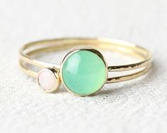Vivid Green Chrysoprase Ring in Solid 14k Gold Simple by MARYJOHN