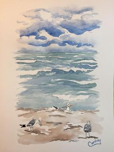 ORIGINAL Watercolor 11x15 Stormy Day