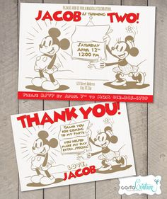Classic Vintage Mickey Mouse DIY Printable Digital Invitation and Thank You Card Set by Carta Couture by CartaCouture on Etsy https://www.etsy.com/listing/184860658/classic-vintage-mickey-mouse-diy