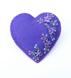 VERONICA - Deep Lavender  Sparkle Love Heart - Felt Brooch Accessory - Valentines Day  $19.50