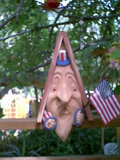 Birdhouse Uncle Sam Handcarved Face by Monte by BirdBuddysbyMonte, $84.95