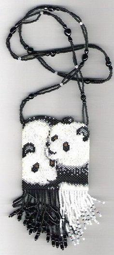 Pandas beaded Amulet Bag Necklace by maddiethekat, via Flickr #beadwork