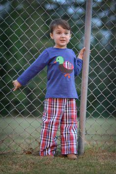 Mallard Applique Shirt & Plaid Pants