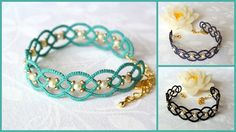 Pulsera de encaje | pulsera cordón ropas hecha en Italia | Joyas de fantasia | fibra |frivolité de joyería