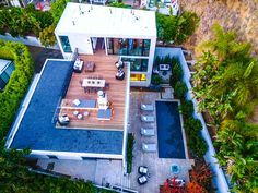 The aerial view of the property reveals just how much of the home is devoted to inviting outdoor spaces at  Emily Blunt and John Krasinski's home.