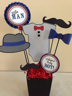 Custom Little Man Mustache Baby Shower Centerpiece Decoration by DivaDecorations on Etsy https://www.etsy.com/listing/250433710/custom-little-man-mustache-baby-shower