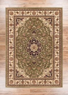 Noble Medallion Green Persian Floral Oriental Formal Traditional Area Rug