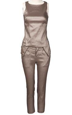 Khaki Sleeveless Back Zipper Pockets Silm Top With Pant
