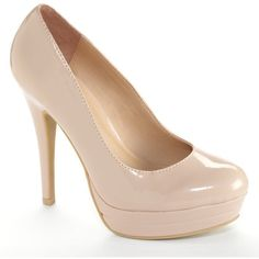 LC Lauren Conrad Women's Platform High Heels ($35) ❤ liked on Polyvore featuring shoes, pumps, nude, high heel pumps, high heel shoes, platform slip on shoes, platform shoes and round toe pumps