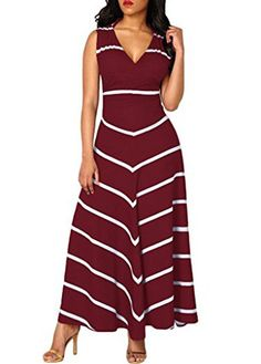 V Neck Sleeveless Stripe Print Wine Red Cutout Back Sheath Maxi Club Party Dress, free shipping worldwide and faster shipping, check it out.