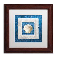 Belinda Aldrich 'Sea Shell III on Blue' Matte, Wood Framed Wall Art