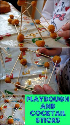 Adding extra elements to your playdough introduces lots of extra learning opportunities: try cocktail sticks and maths