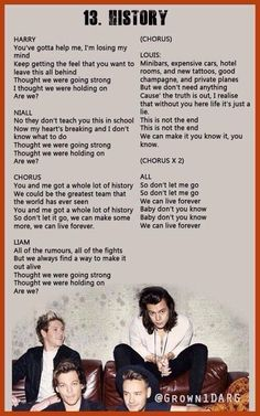 Lyrics to One Direction's 'History' #MadeInTheAM