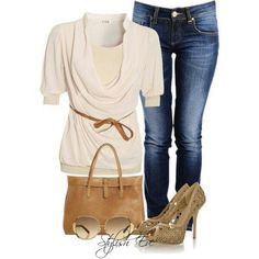 Skinny jeans, white scoop neck sweater w/ belt, tan heels, sunglasses, and a cute purse.