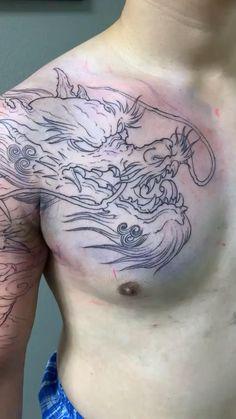 Dragon Tattoo Video, Dragon Tattoo Styles, Dragon Head Tattoo, Asian Dragon Tattoo, Dragon Sleeve Tattoos, Japanese Sleeve Tattoos, Dragon Tattoo Japanese Style, Irezumi Sleeve, Dragon Tattoo Shoulder