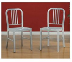 Contemporary Set Of Two Chairs Silvertone Powder-Coated Steel Kitchen Furniture