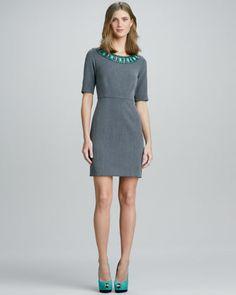 Jeweled-Neck Sheath Dress by Shoshanna at Neiman Marcus.