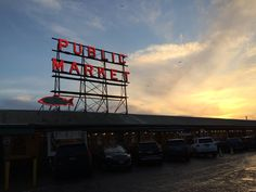 Sunset at Pike Place Market.