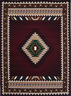 Rugs 4 Less Collection Southwest Native American Indian Area Rug Design R4L 143 Burgundy / Maroon (6'X8'6'')