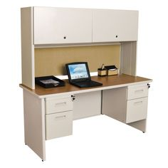 Pronto Flipper Door Cabinet Executive Desk with 2 Right & 2 Left Drawers