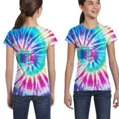 Vy91Lk-8 Short-Sleeve Tie Dye Peace Sign Shirts for Kids 2-6T Ruffled Blouse Clothes