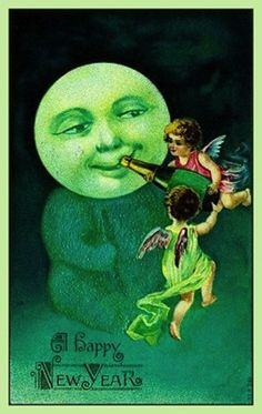 Ah! Double creep factor: Moon man/thing and angels feeding it champagne. | 17 Strange And Creepy Vintage New Years Cards