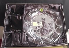 """Waterford Crystal Sean O'Donnell EASTER Velveteen Rabbit 8"""" Plate & Holder Box #Waterford"""