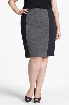 Easy flattering way to wear the color-block style. Sejour Print Ponte Pencil Skirt (Plus Size) available at Womens Linen Clothing, Plus Size Womens Clothing, Plus Size Dresses, Plus Size Outfits, Elegant Style Women, Skirt Fashion, Fashion Outfits, Professional Attire, Plus Size Fashion For Women