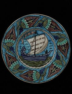 Dish        Place of origin:        Fulham, England (made)      Date:        ca. 1895 (made)      Artist/Maker:        De Morgan, William Frend, born 1839 - died 1917 (designer)      William De Morgan, Fulham Factory (probably, maker)      Materials and Techniques:        Earthenware with painted decoration in colours