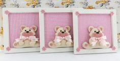 Trio Quadros Porta Maternidade Enfeite Quarto Bebê <br>feito em MDF, ursinhos em feltro, faço algumas modificações como temas, cores, etc.