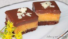 chocolate, , naranja, gelatina, tarta de naranja y chocolate, Julia y sus recetas, tarta fría sin horno, cuadraditos de naranja,