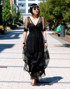 dress c/o Marchesa, Christian Dior sunglasses, Stuart Weitzman shoes, Svelte Metals jewelry