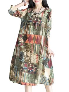 O-Newe Vintage Geometric Patterns Printed Long Sleeve O-Neck Dress For Women