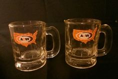 A&W Shot Glass Mugs 2 A&W Root Beer mugs 3.5 ounces United States Map
