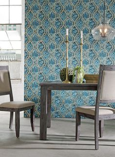 Malachite Trellis Wallpaper in Blue and Gold design by York Wallcoverings