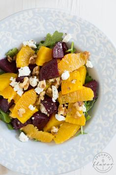 Beet and Orange Salad over arugula with goat cheese and walnuts