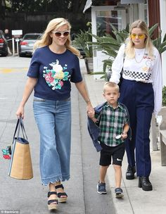Bonding time: Reese Witherspoon was spotted on a bonding outing with daughter Ava and son Deacon as they headed to the celeb-favorite Brentwood Country Mart on Saturday morning