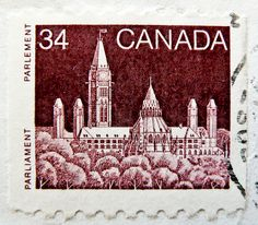 old canadian stamp Canada 34c Parliament (Ottawa) postage stamps poste-timbres Canada sellos selos Briefmarken Kanada porto franco francobolli postzegel 一张邮票 加拿大  ма́рка Кана́да by stampolina, via Flickr