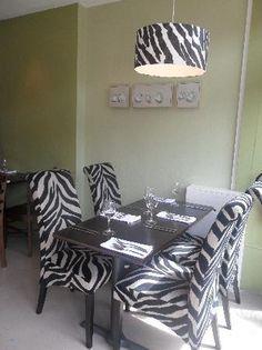 Zebra print dining room<3