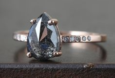 natural rose cut black galaxy diamond ring :: Alexis Russell