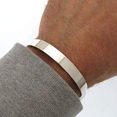 Flat Cuff Bracelet for Men - Nadin Art Design - Trend Ideas Mens Gold Bracelets, Cuff Bracelets, Bracelet Men, Skull Bracelet, Silver Man, Sterling Silver Bracelets, Silver Bangles, Beautiful, Men's Accessories