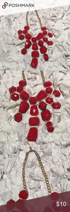 Red and gold statement necklace Red and gold statement necklace. In great condition! Pairs well with a high neck top. Jewelry Necklaces