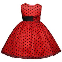 Girls Polka Dots Dresses Princess Lace Flower Girl Dress 4-10 Years