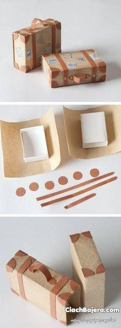 Awesome inspiration for wrapping a special present  Walizeczki na drobiazgi z pudełeczek po zapałkach
