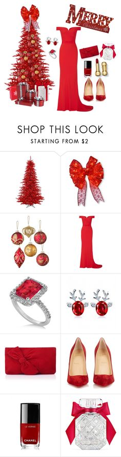"""""""Christmas in red"""" by grace-buerklin ❤ liked on Polyvore featuring National Tree Company, Improvements, Alexander McQueen, Allurez, L.K.Bennett, Christian Louboutin, Chanel and Victoria's Secret"""