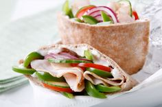 Turkey-Vegetable Pita recipe. Visit CookingWithKraft.com to get coupons for savings at Publix® when you buy participating Kraft products. While supplies last. Available exclusively at Publix® for AL, FL, GA, SC and TN residents. Ingredients: 1 whole wheat pita bread, cut in half; 1 Tbsp. MIRACLE WHIP Light Dressing; 6 slices OSCAR MAYER Deli Fresh Smoked Turkey Breast; 1 tomato, cut into 4 slices; 4 thin cucumber slices; 2 thin red onion slices; 1/2 cup green pepper strips. #healthy #food Pita Sandwiches, Roast Beef Sandwiches, Turkey Sandwiches, Pita Recipes, Kraft Recipes, Sandwich Recipes, Lunch Recipes, Easy Recipes, Chicken Recipes