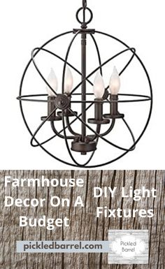 You don't have to overspend for top quality farmhouse decor. DIY farmhouse decor on a budget is yours for less because I'll show you how to make it yourself! Farmhouse Lighting, Rustic Lighting, Farmhouse Decor, Lighting Ideas, Rustic Decor, Diy Light Fixtures, Industrial Light Fixtures, Kitchen Cabinets Decor