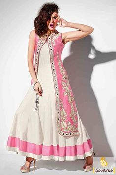Be appear like a lovely lady with stylish latest white and pink satin anarkali salwar suit with discount. It is gorgeous with embroidery and mirror work on koti. #anarkalisalwarsuit, #salwarsuit, #salwarkameez, #anarkalisuit, #lehengastylesuit, #anarkalidress, #bridalanarkalisuit,   #chudidarsalwarsuit, #partywearanarkalisuit, #pavitraafashion, #utsavsaree, #discountoffer, #embroideryanarkalisuit, #designersuit  http://www.pavitraa.in/store/anarkali-salwar-suit/ callus:917698234040
